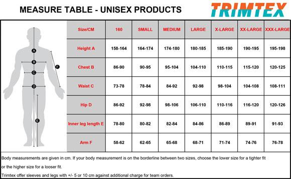 Trimtex Size Chart